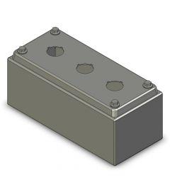 Drukknopkast 90mm 200mm D.85mm 3 gaten M22